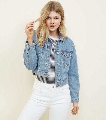 Petite Pale Blue Cropped Denim Jacket by New Look