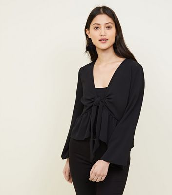 Petite Black Flare Sleeve Tie Front Blouse