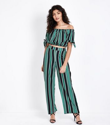 Cameo Rose Green Stripe Wide Leg Trousers