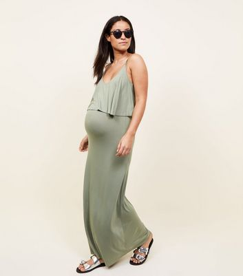 Maternity Khaki Layered Jersey Maxi Dress