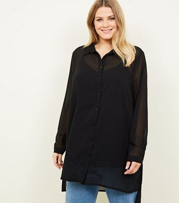 Curves Black Longline Chiffon Shirt
