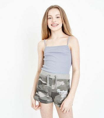 Girls Green Camo Print Shorts