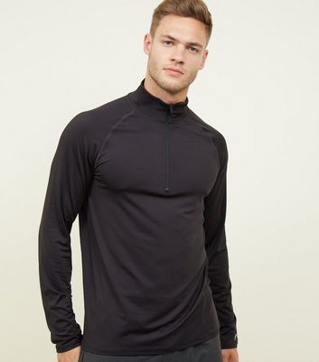 Black Funnel Neck Long Sleeve Top