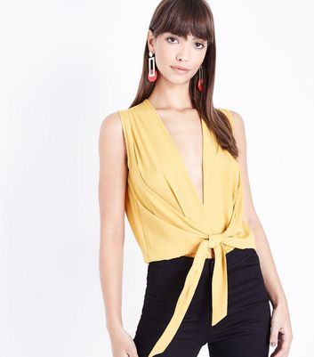 Yellow Plunge Neck Tie Front Bodysuit