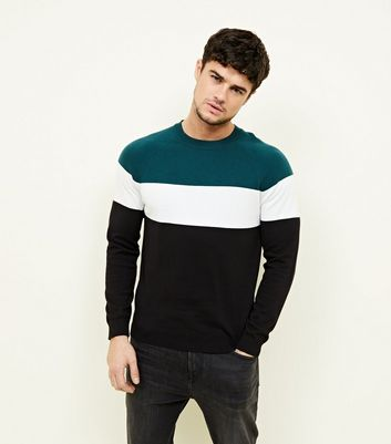Teal Colour Block Jumper
