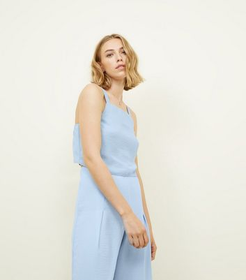 Pale Blue Square Neck Cropped Cami        Pale Blue Pleated High Waist Cropped Trousers by New Look