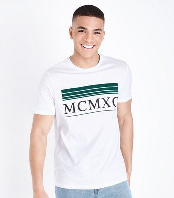 White MCMXC Printed T-Shirt