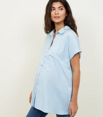 Maternity Pale Blue Button Through Short Sleeve Shirt
