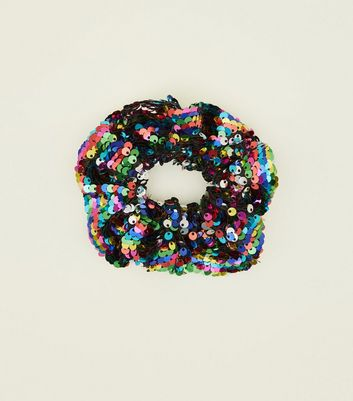 Rainbow Sequin Scrunchie