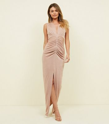 Pale Pink Ruched Maxi Dress