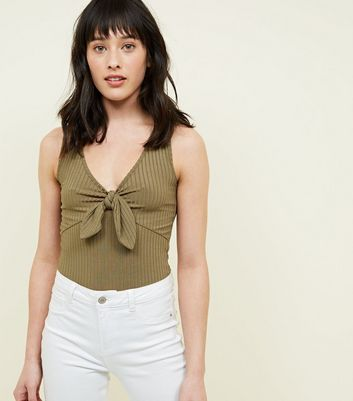 Khaki Ribbed Tie Front Sleeveless Bodysuit