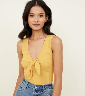 Mustard Ribbed Tie Front Sleeveless Bodysuit