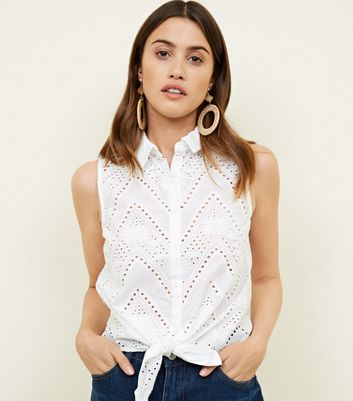 White Cut Out Sleeveless Tie Front Shirt