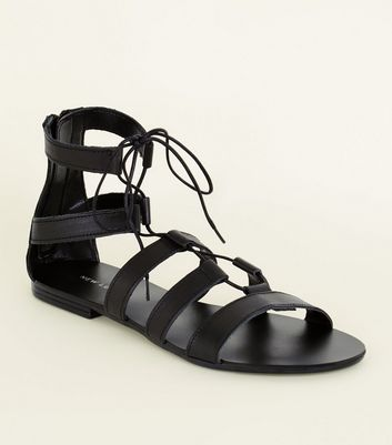 Black Leather Ghillie Gladiator Flat Sandals