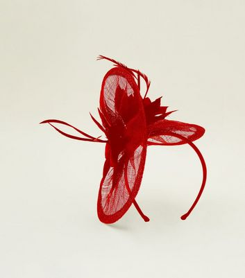 Red Mesh Feather Fascinator Headband