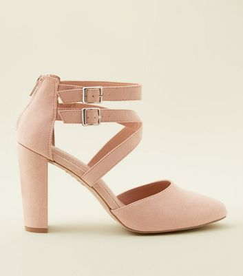 Wide Fit Nude Comfort Flex Suedette Strappy Courts