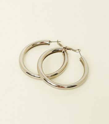 Silver Wide Tube Hoop Earrings