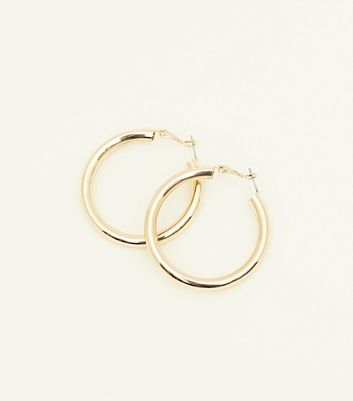 Gold Wide Tube Hoop Earrings
