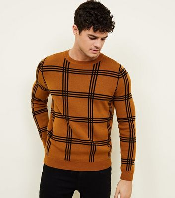 Camel Check Crew Neck Jumper