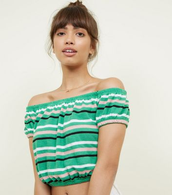 Green Stripe Bardot Neck Knitted Crop Top