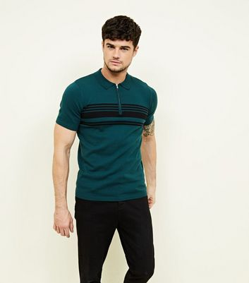 Teal Zip Front Stripe Block Polo Knit Shirt
