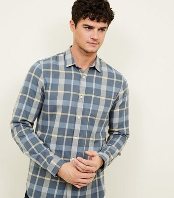 Blue Long Sleeve Check Button Front Shirt