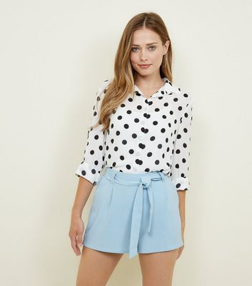 Pale Blue High Tie Waist Shorts
