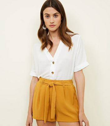Mustard High Tie Waist Shorts by New Look