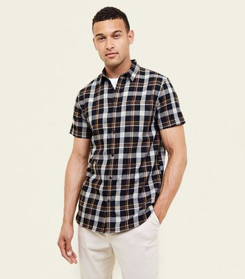 Black and Mustard Check Short Sleeve Shirt