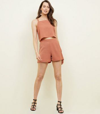 Rust Linen Look Shorts 				  				 					 				 			 			 					Rust Linen Look Square Neck Crop Top by New Look