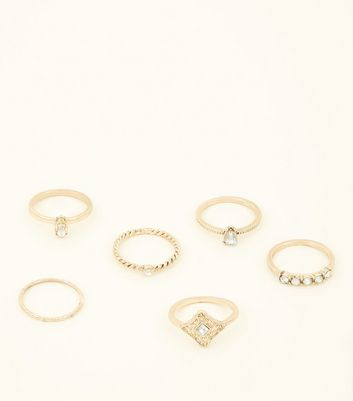 6 Pack Gold Stone And Embossed Stacking Rings by New Look