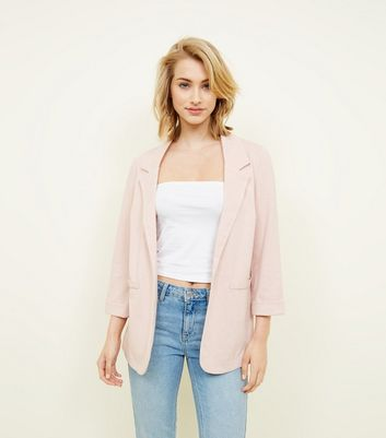 Pale Pink Cross Hatch Stretch Blazer