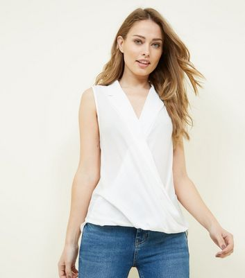 Off White Wrap Front Sleeveless Top