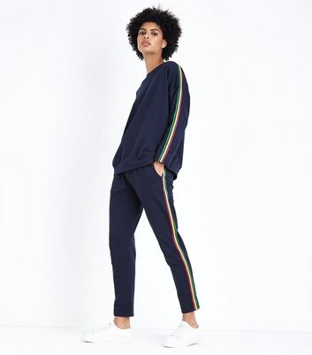 QED Navy Rainbow Side Stripe Joggers