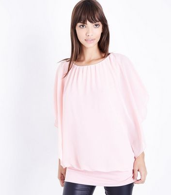 QED Bright Pink Angel Sleeve Top