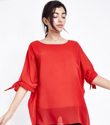QED Red Tie Sleeve Oversized Top
