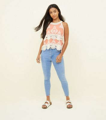Petite Bright Blue High Waist Super Skinny Jeans