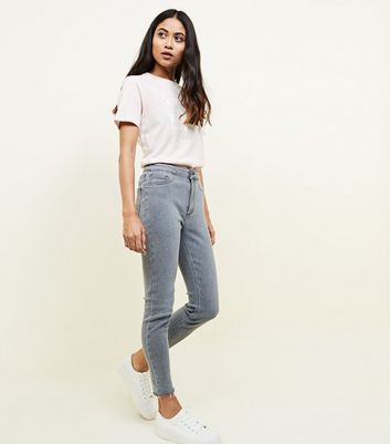 Petite Light Grey High Waist Super Skinny Jeans