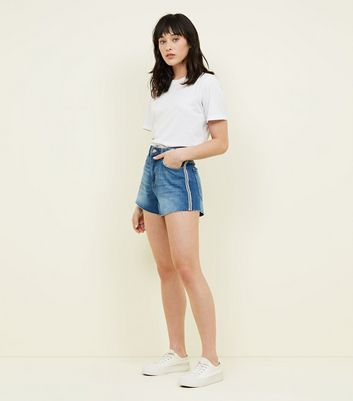 Blue and White Side Stripe Denim Mom Shorts
