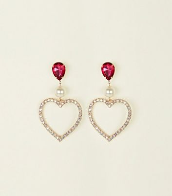 Pink Stone Top Diamanté Heart Earrings by New Look