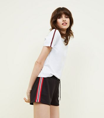 Black Side Stripe Jersey Shorts