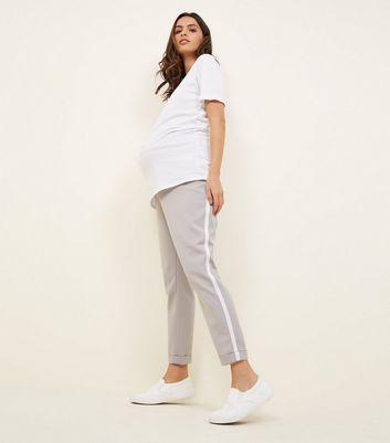 Maternity Grey Side Stripe Over Bump Trousers