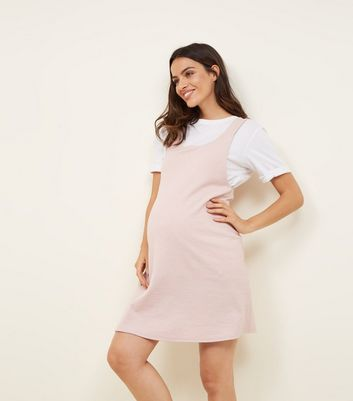 Maternity Pink Cross Hatch Pinafore Dress
