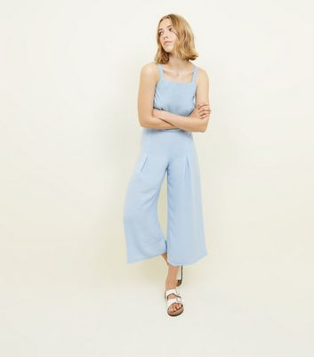 Pale Blue Pleated High Waist Cropped Trousers