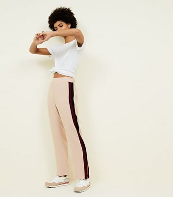 Pale Pink Double Side Stripe Flared Trousers