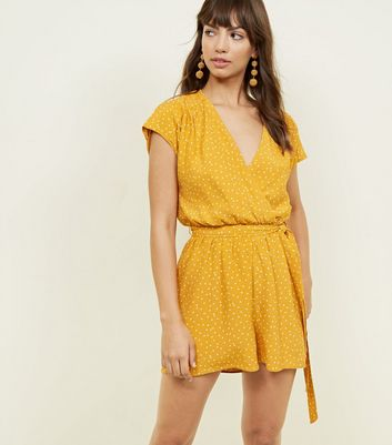 Yellow Spot Print Wrap Front Playsuit