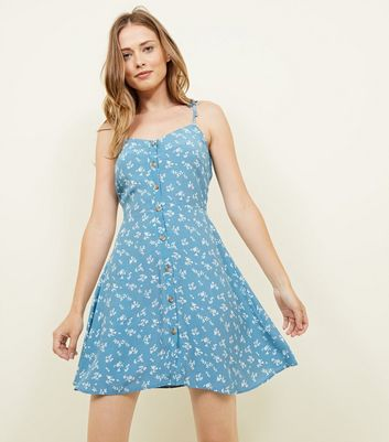 Pale Blue Ditsy Floral Button Front Sundress