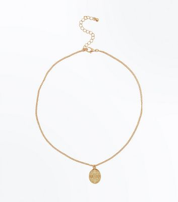 Gold Oval Coin Pendant Necklace by New Look