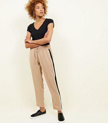 Camel Side Stripe Shirred Waist Trousers