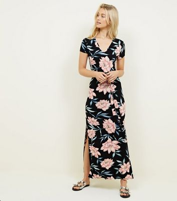 Black Floral Jersey Split Maxi Dress by New Look